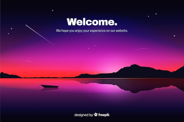 Landing page with gradient night sky