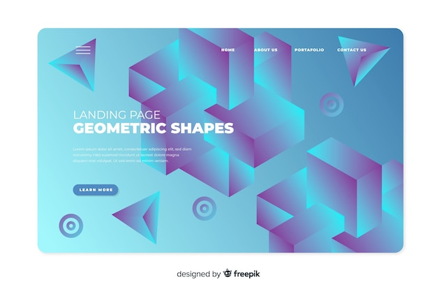 Landing page with gradient shapes