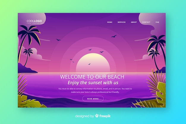 Landing page with gradient sunset