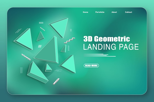 Landing page with green gradients and 3d abstract shapes
