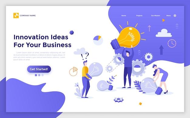 巨大な電球を持っている人々、店員、またはサラリーマンのグループがいるランディングページ。ビジネス、創造性、ブレーンストーミング、職場での洞察のための革新的なアイデア。現代のフラットベクトルイラスト。