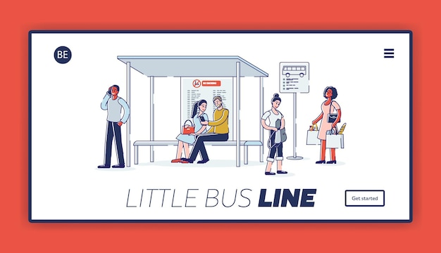 Landing page with group of people on bus station