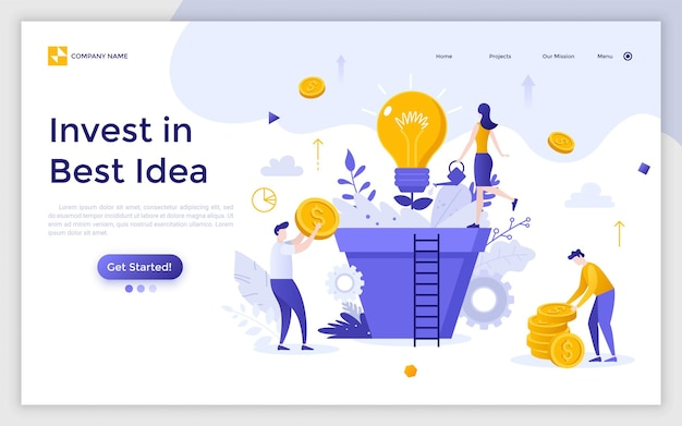 Landing page with group of people, managers or investors cultivating light bulb growing in giant pot. invest in best ideas, innovative investment and financial profit. modern flat vector illustration.