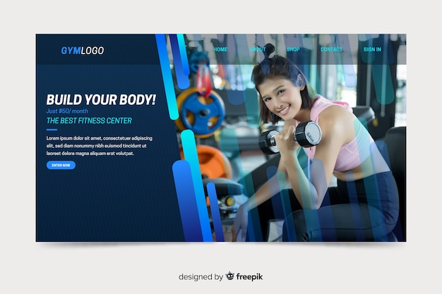 Landing page with gym promotion photo