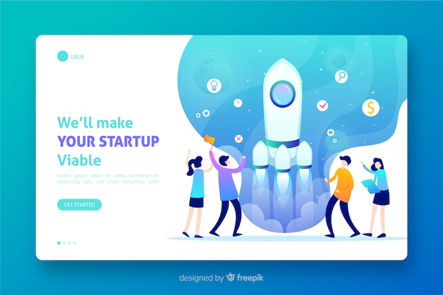 Landing page with hand drawn rocket start-up