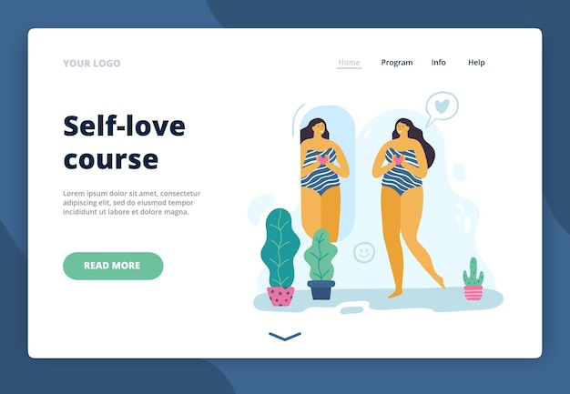 Landing page with happy body-positive girl