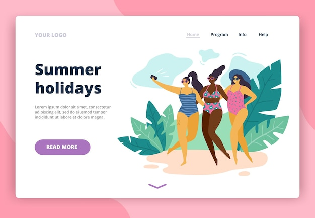 Landing page with happy body-positive girls