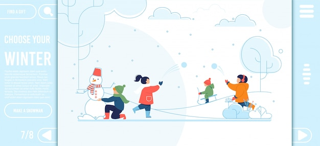 Landing page with happy kids on winter walk design