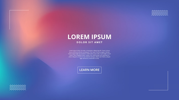 Landing page with holographic abstract gradient effect