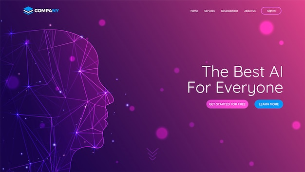 Landing page with human face made by digital mesh network