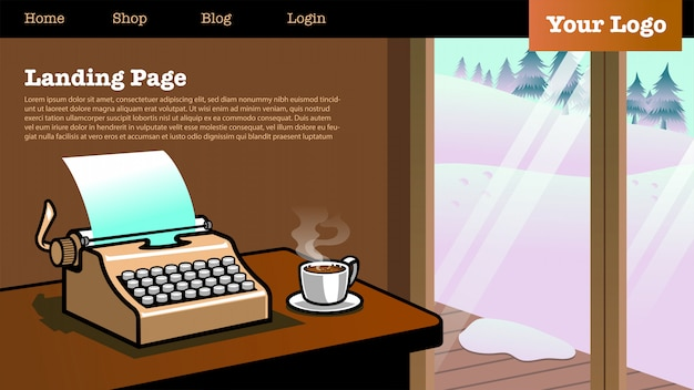 Целевая страница с изображением типа пишущей машины в доме