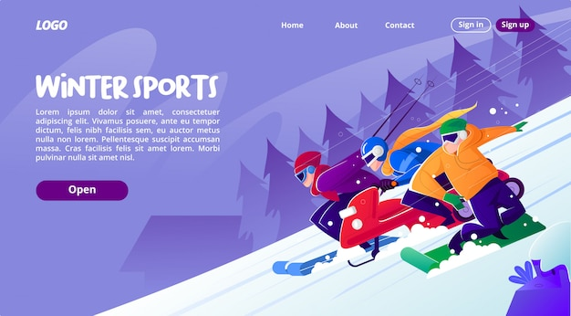 Landing page with illustrations of sports in winter that is fun