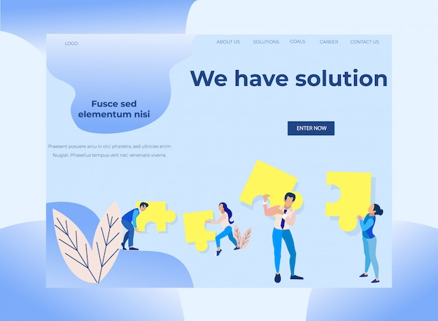 Landing page with inscription we have solution