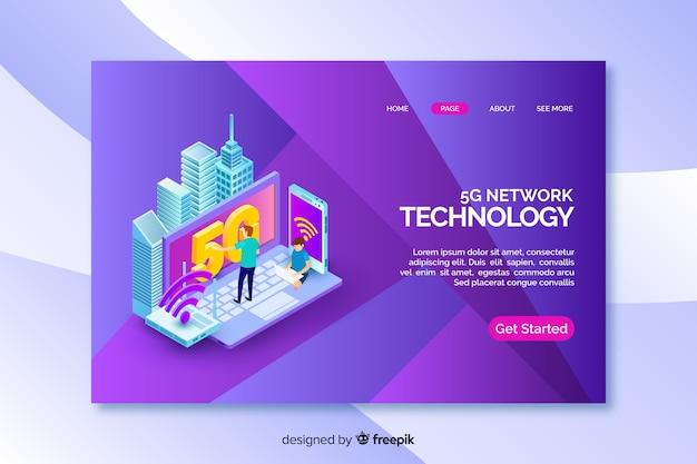 Landing page with isometric 5g technology