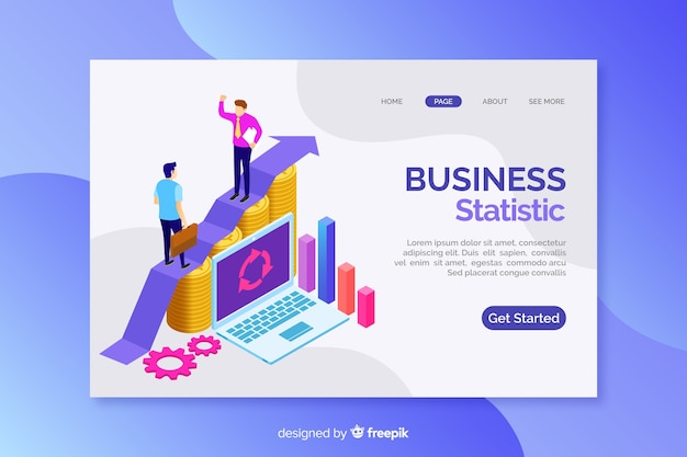 Landing page with isometric business graphs