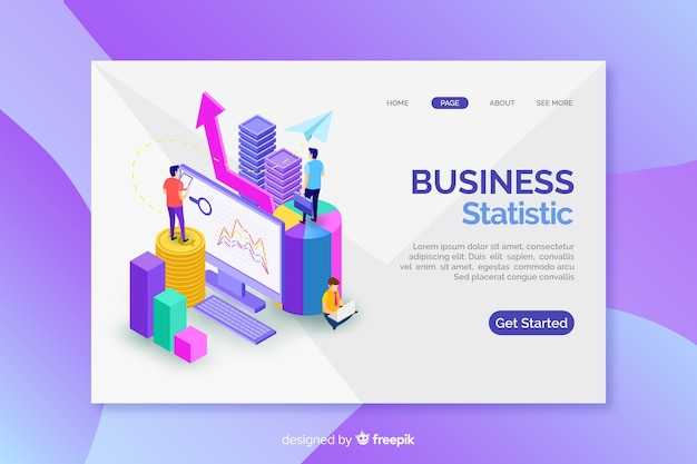 Landing page with isometric marketing graphs