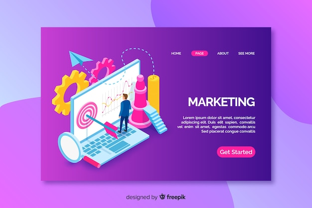 Landing page with isometric marketing laptop