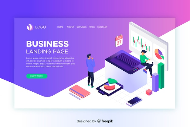 Landing page with isometric office tools