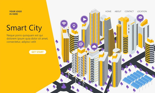Landing page with isometric style illustrations of tall buildings and icons