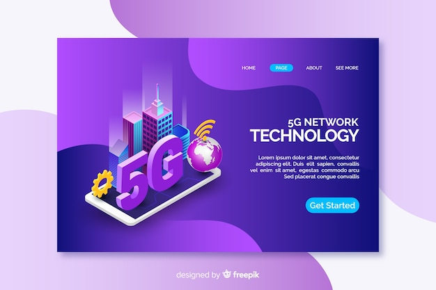 Landing page with isometric tablet