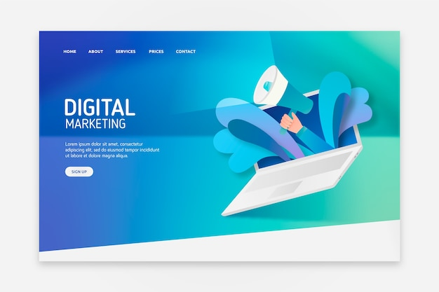 Landing page with laptop concept for template