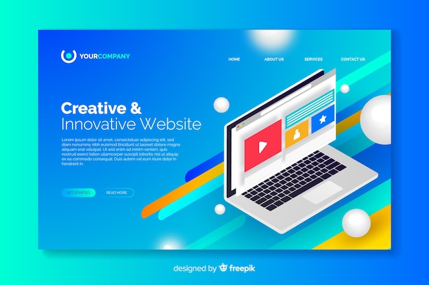 Landing page with laptop concept
