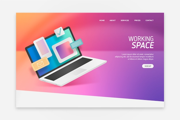 Landing page with laptop design for template