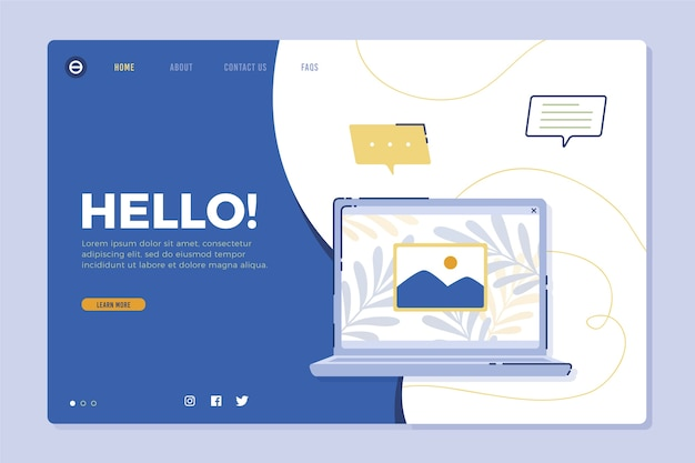 Landing page with laptop design