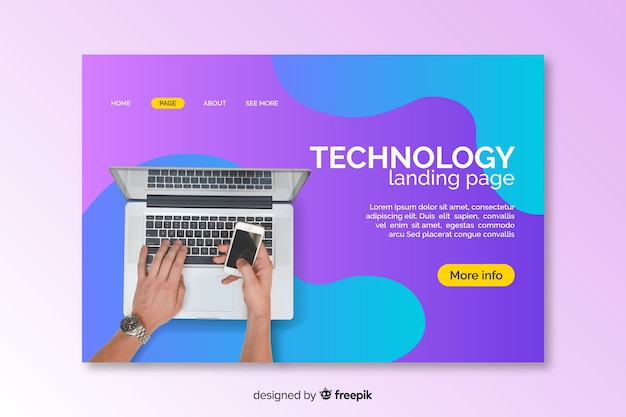 Landing page with laptop liquid effect
