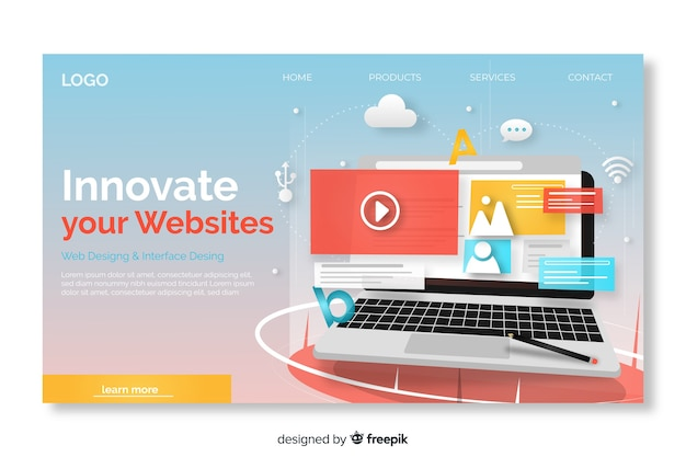 Landing page with laptop template