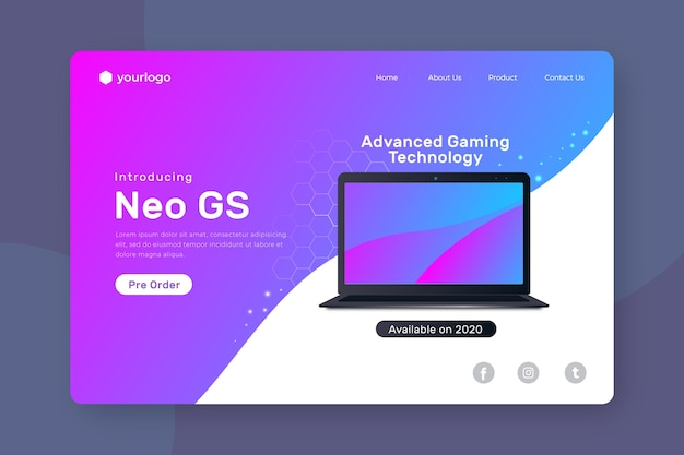 Landing page with laptop with gradient