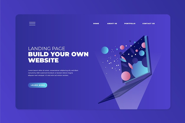 Landing page with laptop