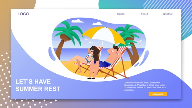 Landing page with lets have summer rest inviting.