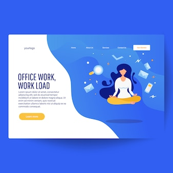 Landing page with levitating financial manager, book, magnifier, smartphone, letters.