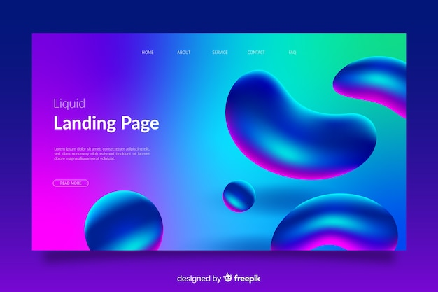 Landing page with liquid effect shapes