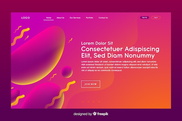 Landing page with liquid effect