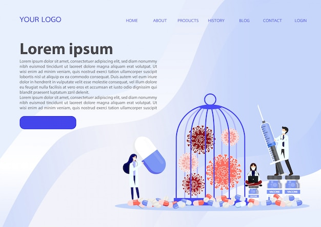 Landing page with locked virus pathogen in cage illustration