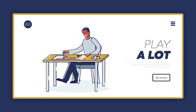 퍼즐을 해결하는 소년과 개념을 재생하는 논리 게임이있는 방문 페이지