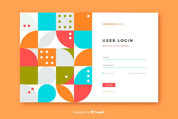 Landing page with login and geometric shapes