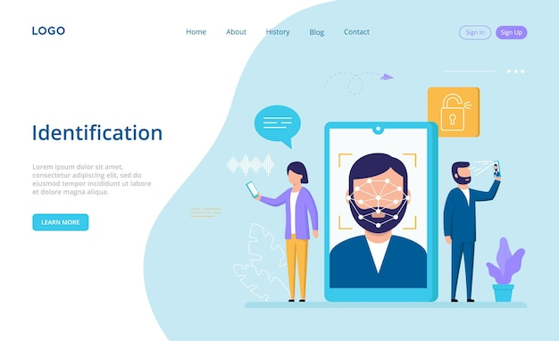 Landing page with male and female characters stand near big smartphone using face, fingerprint or voice identification to unlock it