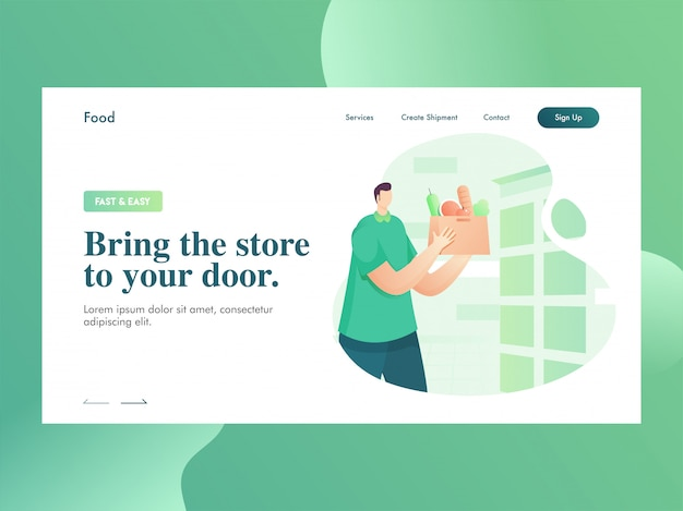 Landing page  with man character holding food veg bag for bring the store to your door.