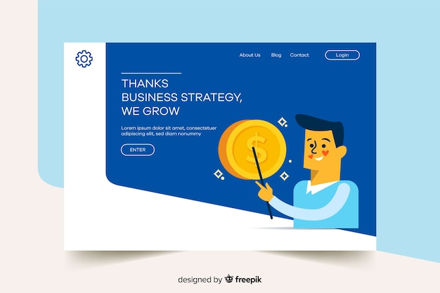 Landing page with man and coin