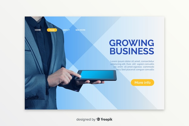 Landing page with man holding a tablet