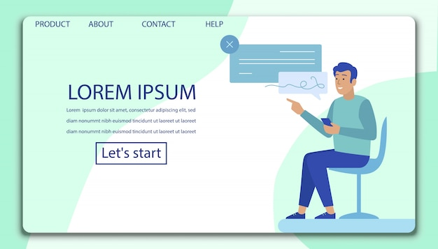 Landing page with man putting digital signature
