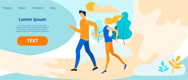 Landing page with man and woman on dating outdoors