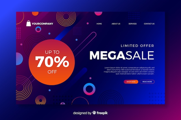 Landing page with mega sale