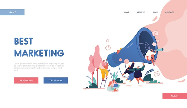 Landing page with men and women with megaphone, computers referring a friend concept design, website with people character share info about referral. web, ui, mobile app, template.