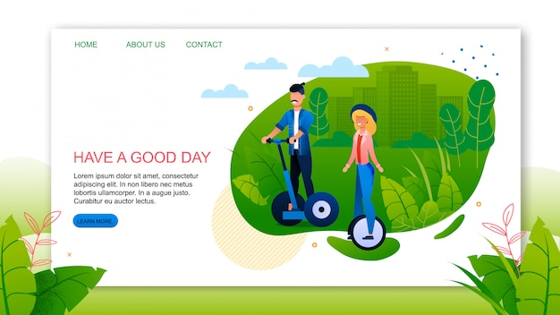 Landing page with motivate quote have good day advertising
