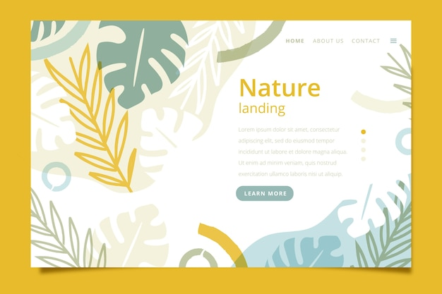 Landing page with nature theme