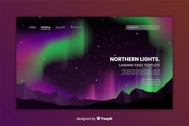 Landing page with northern lights